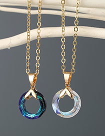 Fashion Transparent Color Round Crystal-like Resin Alloy Necklace