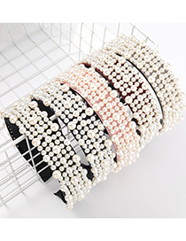 Fashion Red Flannel Inlaid Pearl Full Diamond Beaded Broad-brim Hair Band