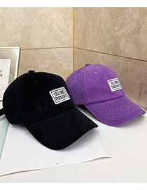 Fashion Purple Letter Embroidery Soft Top Cap
