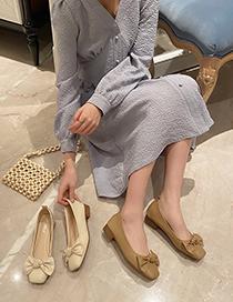 Fashion Apricot Bowknot Shallow Mouth Square Toe Shoes