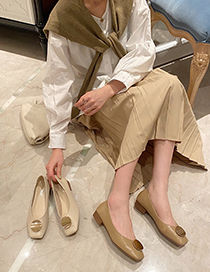 Fashion Apricot Shallow Metal Buckle Soft Sole Square Toe Shoes