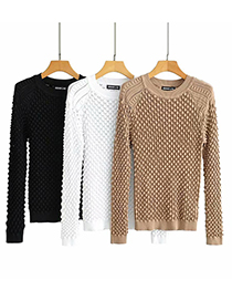 Fashion Black Heavy Industry Three-dimensional Jacquard Crocheted Round Neck Sweater Sweater