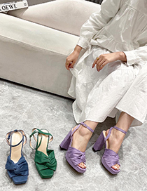Fashion Green Square-toed Velvet High-heeled Sandals With Chunky Heel Bow