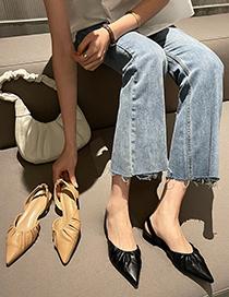 Fashion Black Block Heel Flat Ruffled Toe Sandals
