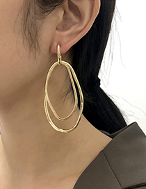 Fashion Gold Color Alloy Geometric Multilayer Hollow Earrings