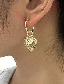 Fashion Gold Color Alloy Heart Geometric Stud Earrings