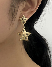 Fashion Gold Color Alloy Five-pointed Star Earrings