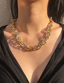 Fashion Gold Color Alloy Thick Chain Cross Necklace