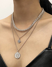 Fashion White K Alloy Portrait Pendant Multilayer Necklace