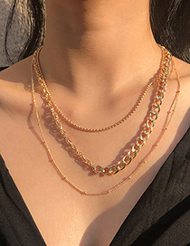 Fashion Gold Color Alloy Chain Stitching Multilayer Necklace