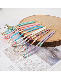 Fashion Color Mixing Soft Pottery Contrast Color Stainless Steel Necklace