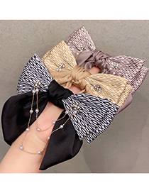 Fashion Black Pearl Chain Bow Hit Color Hairpin