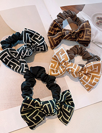 Fashion Black And White Printed Abstract Musical Note Small Bow Fold Hair Rope