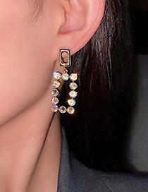 Fashion Geometric Diamond Geometric Diamond Rectangle Earrings