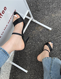 Fashion White Pointed Open Toe Strap High Heel Sandals