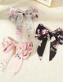 Fashion Pink Bowknot Fabric Printed Hair Tie