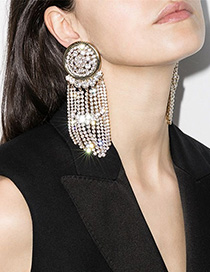 Fashion Gold Color Round Alloy Diamond Tassel Earrings