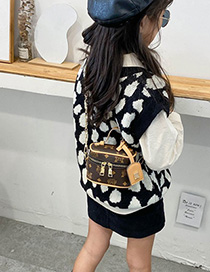 Fashion Black Letter Print Kids Shoulder Messenger Bag