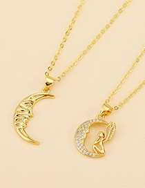 Fashion Moon Face Diamond Moon Hollowed Crescent Cupid Necklace