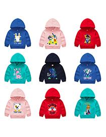 Fashion Powder 1 Childrens Hooded Cartoon Pattern Sweater
