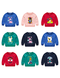 Fashion Powder 1 Childrens Cartoon Pullover Sweater 1-7 Years Old