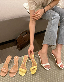 Fashion White Transparent High Heels With Thick Heel