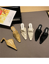 Fashion Black Slippers With Small Square Toe And Thick Heel