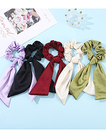 Fashion Red Solid Color Ribbon Silk Scarf Large Intestine Hair Ring