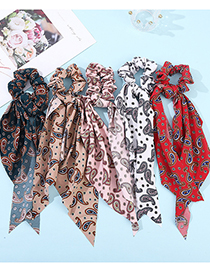 Fashion Pink Cashew Flower Ribbon Fabric Silk Scarf Large Intestine Hair Tie