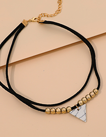 Fashion Black Velvet Rope Resin Triangle Double Necklace