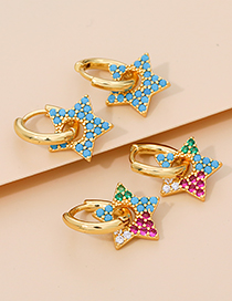 Fashion Lake Blue Alloy Diamond Five-pointed Star Stud Earrings