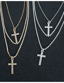 Fashion Golden Cross Bead Chain Multilayer Necklace