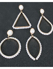Fashion Drop Shape Alloy Inlaid Pearl Geometric Hollow Earrings