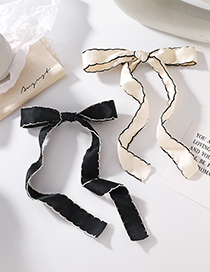 Fashion Black Black And White Wavy Side Bow Hairpin