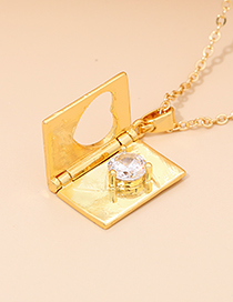 Fashion Golden Alloy Diamond Love Flip Necklace