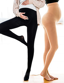 Fashion Skin Tone With Feet (thin Section) Adjustable Anti-snaking Pantyhose For Pregnant Women