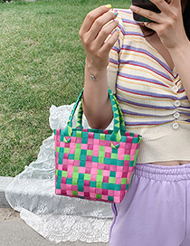 Fashion Color One Yellow Colorful Woven Stitching Straw Woven Handbag