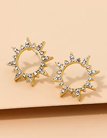 Fashion Golden Alloy Diamond Hollow Star Earrings
