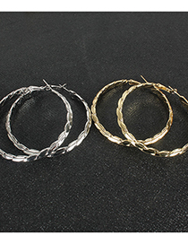 Fashion Golden Wavy Circle Alloy Earrings