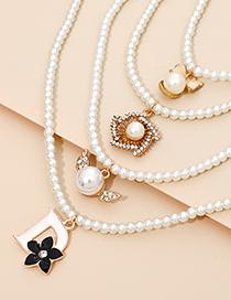 Fashion White Alloy Pearl Bow Necklace