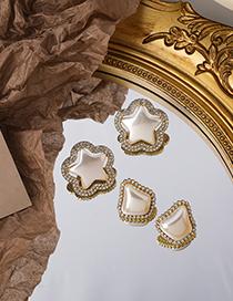 Fashion Sector Star Irregular Pearl Earrings With Diamonds