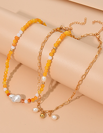 Fashion Yellow Alloy Resin Chain Necklace Set