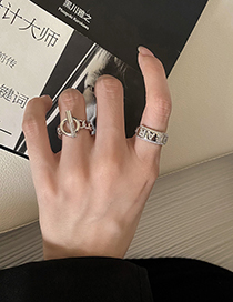 Fashion Silver Color Style One Real Gold Plating Diamond English Letter Open Ring