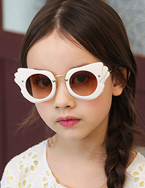 Fashion Flowers/tea Become Gray Angel Wing Childrens Sunglasses