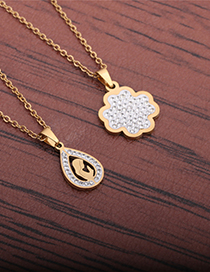 Fashion Gold Color Pendant Zircon Stainless Steel Maria Necklace