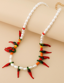Fashion Red Resin Pearl Pepper Necklace