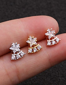 Fashion Silver Stainless Steel Screw Five-pointed Star Stud Earrings