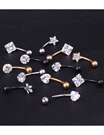 Fashion Round Steel Color Peach Heart Five-pointed Star Square Round Stainless Steel Zircon Belly Button Nail