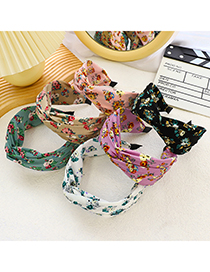 Fashion Coffee Color Printing Floral Print Cross-knotted Headband