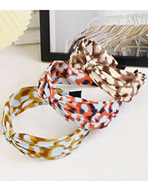 Fashion Yellow Orchid Leopard Print Middle Knot Headband